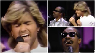 In 1985, a young George Michael was just 21-years-old when he got on stage and sang a flawless performance of hit song 'Love's in Need of Love Today' with none other than Stevie Wonder himself.
