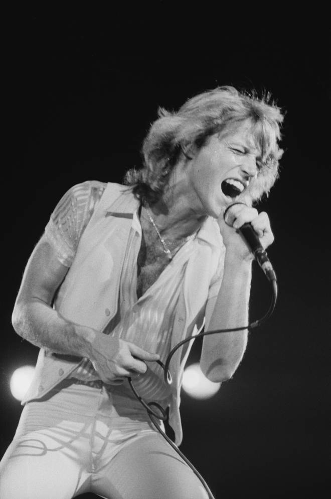 """""""We knew that Andy was in bad shape – he had some bad substance habits – but we never thought we would lose him,"""" Barry continued. Andy Gibb pictured on stage in 1978."""