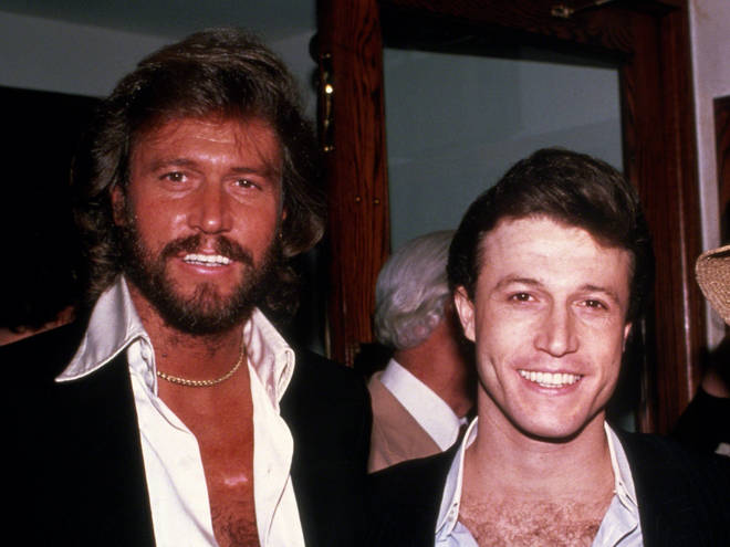 """""""We were very much alike, me and Andy. We had the same birthmarks,"""" Barry Gibb (left) said of his little brother Andy Gibb (right). The pair pictured in 1982."""