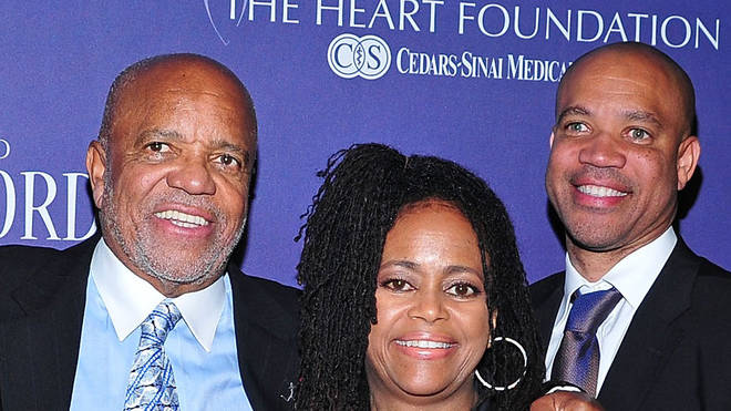 Berry Gordy (centre) with daughter Hazel and son Kerry