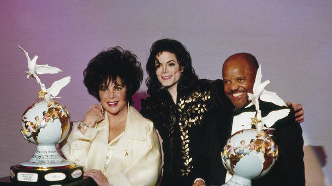 Berry Gordy with Michael Jackson and Elizabeth Taylor