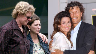 Shania Twain with her ex-husband Mutt Lange (left) and second husband Frédéric Thiébaud (right)