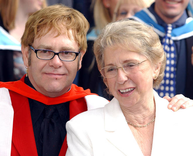 Elton John and his mother Sheila in 2002