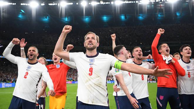 Harry Kane celebrates with the England fans