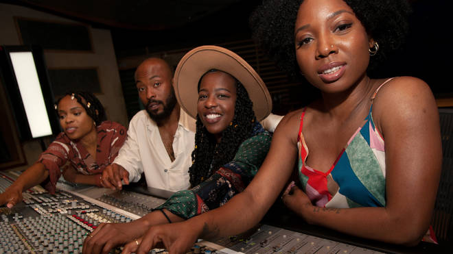 The Bob Marley musical cast at the mixing desk