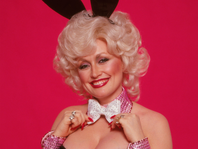 Dolly Parton on her original 1978 Playboy cover, which she recreated for husband Carl's birthday