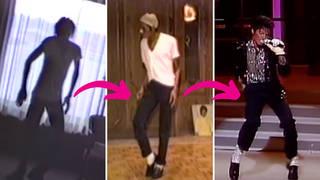 Michael Jackson practising thee Moonwalk