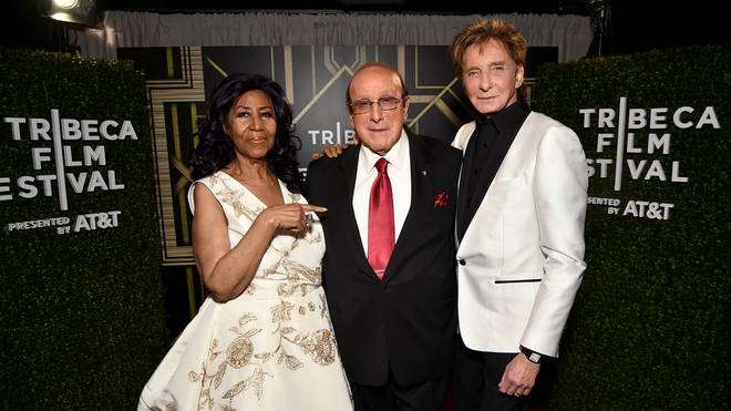 Clive Davis with Aretha Franklin and Barry Manilow in 2017