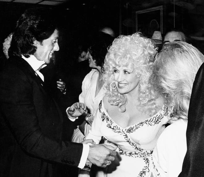 Dolly Parton and Sylvester Stallone on the red carpet for the 'Rhinestone' premiere in New York City