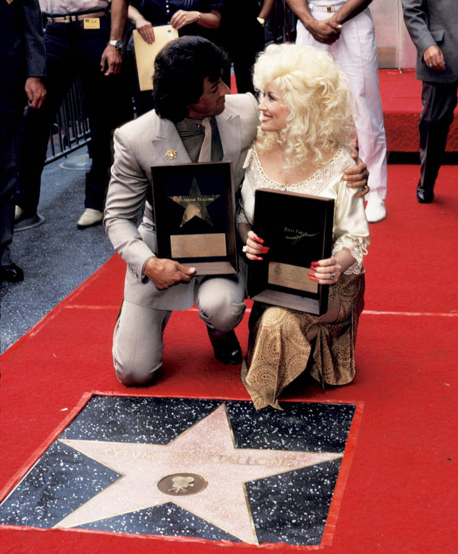 Dolly Parton and Sylvester Stallone are honoured with stars on the Hollywood Walk of Fame