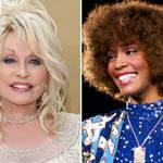 Dolly Parton Whitney Houston smiling close up