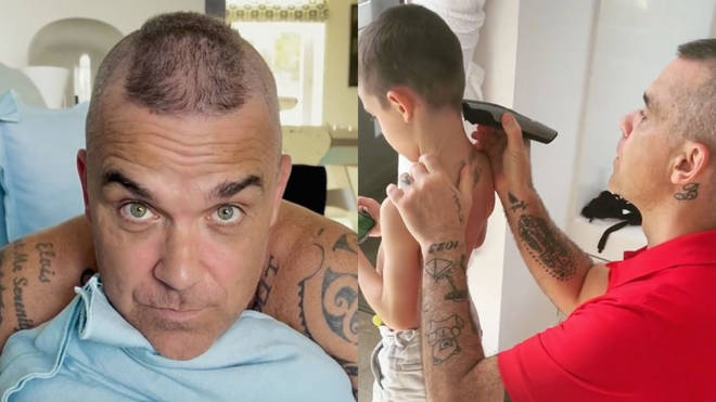 Robbie Williams gives son Charlie gets identical mohawk haircut from Robbie