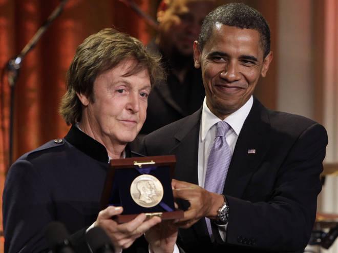 Paul McCartney at White House with Barack Obama