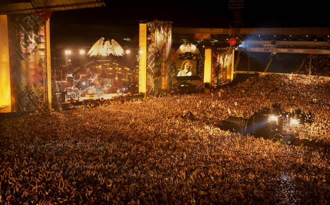 Crowds watching the Freddie Mercury Tribute Concert, Wembley Stadium, London, April 20, 1992. (Photo by Phil Dent/Redferns)
