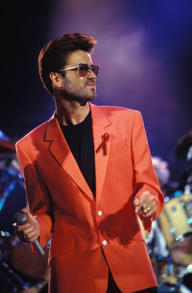 George Michael performing at the Freddie Mercury Tribute gig (Photo by Mick Hutson/Redferns)