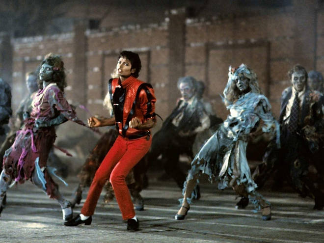 Michael Jackson dancing in the iconic 1983 music video for 'Thriller'