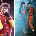 Michael Jackson performing 'Thriller' live, and a still from the 1983 music video