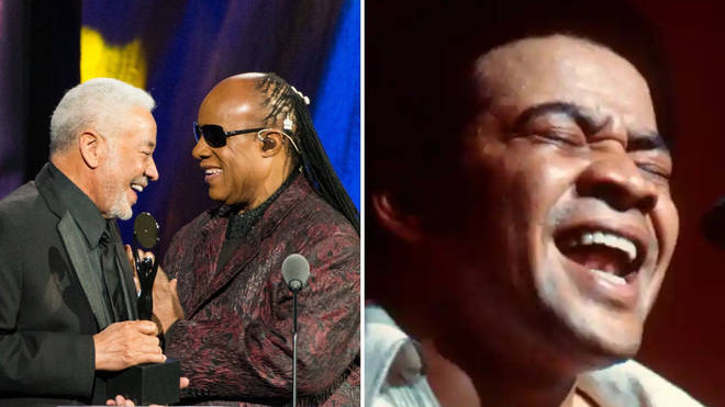 Stevie Wonder inducting Bill Withers into the Roll & Roll Hall Of Fame, and Withers performing at London's Hammersmith Odeon in 1972. Photos: Getty Images