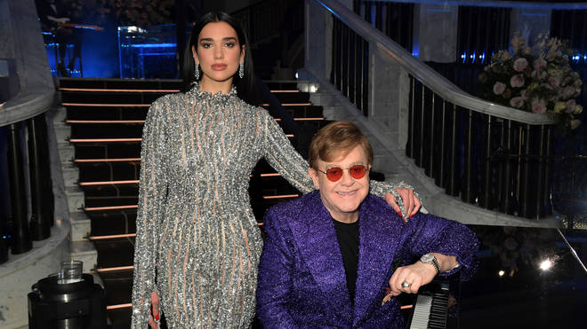 Dua Lipa and Sir Elton John attend the 29th Annual Elton John AIDS Foundation Academy Awards Viewing Party on April 25, 2021. (Photo by David M. Benett/Getty Images for the Elton John AIDS Foundation)