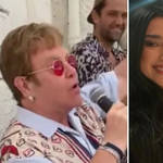 Elton John surprises restaurant audience with performance of 'Cold Heart', and Elton with Dua Lipa. Photos: Instagram