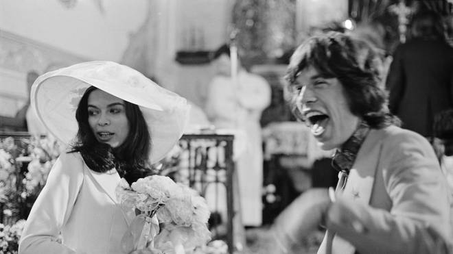 Mick and Bianca Jagger at their wedding at the Church of St. Anne, St Tropez, 12th May 1971. (Photo by Reg Lancaster/Daily Express/Hulton Archive/Getty Images)