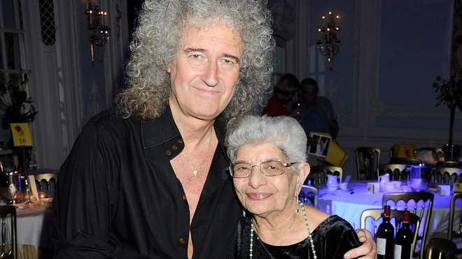 Brian May with Freddie Mercury's mother Jer Bulsara in 2011