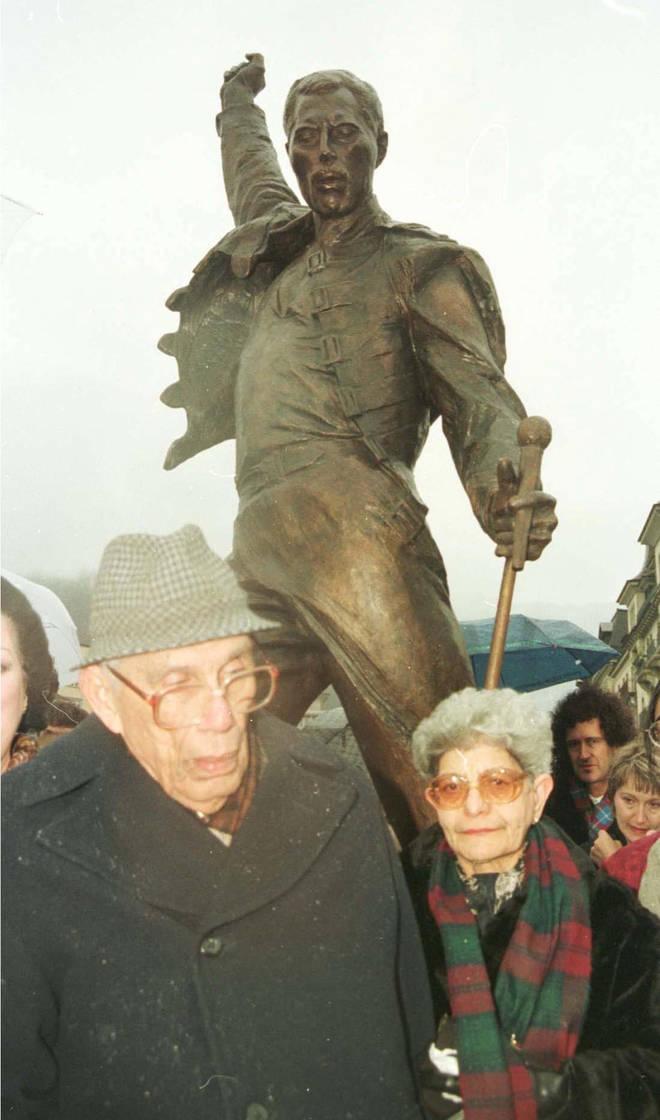 Freddie Mercury's parents at his statue