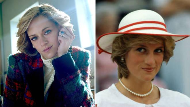 Actress Kristen Stewart as Princess Diana, and Diana, Princess Of Wales