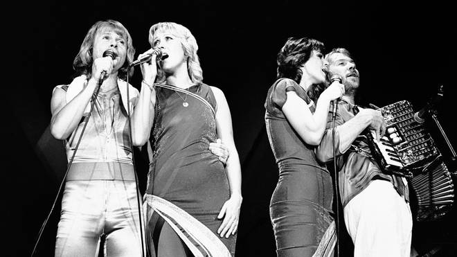 ABBA perform at Wembley Arena, London, 1979. (Photo by Gus Stewart/Redferns)