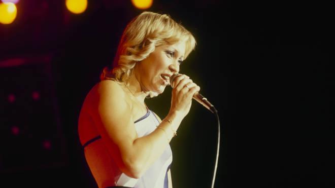 'Dancing Queen' Agnetha Faltskög of ABBA entertaining the Wembley masses in November 1979. (Photo by David Redfern/Redferns)