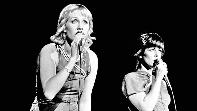 ABBA's Agnetha Faltskog and Anni-Frid Lyngstad performing at Wembley Arena in November 1979. (Photo by Gus Stewart/Redferns)