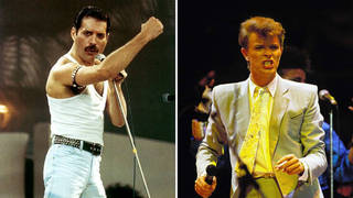 Freddie Mercury and David Bowie both performing at Wembley Stadium for Live Aid in 1985.