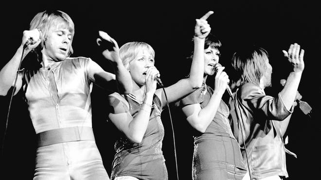 ABBA Perform At Wembley Arena in 1979. (Photo by Gus Stewart/Redferns)