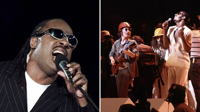 Stevie Wonder performing at the 1996 Olympic closing ceremony in Atlanta, and Stevie Wonder on stage with John Lennon.