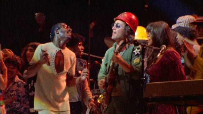 Stevie Wonder performing on stage with John Lennon at Madison Square Garden, New York in 1972.
