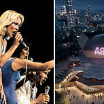 ABBA performing at Wembley Arena, and the first image of the purpose-built ABBA Arena