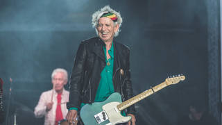 Keith Richards performing with The Rolling Stones Perform at Twickenham Stadium, 2019.