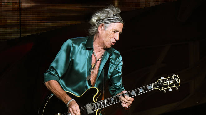 Keith Richards performing with The Rolling Stones at Carter Finley Stadium in Raleigh, North Carolina in 2015.  (Photo by Chris McKay/Getty Images)
