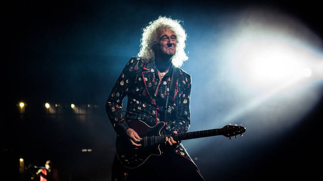 Brian May performing with Queen + Adam Lambert in Milan, 2018. (Photo by Roberto Finizio/NurPhoto via Getty Images)