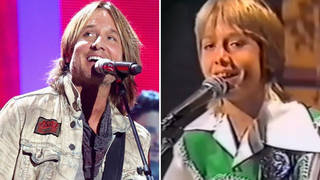 Keith Urban performing at iHeartCountry Festival in 2018, and appearing on talent show Pot Of Gold in 1978.