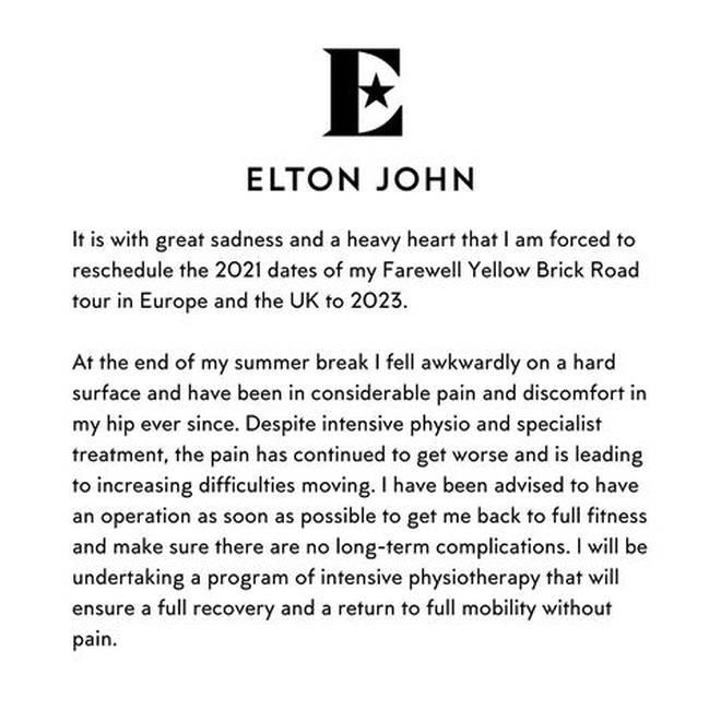 Elton John's full statement on his Instagram.