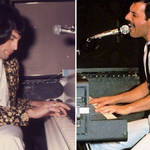 Freddie Mercury tinkering on the piano in the studio, and performing live with Queen.
