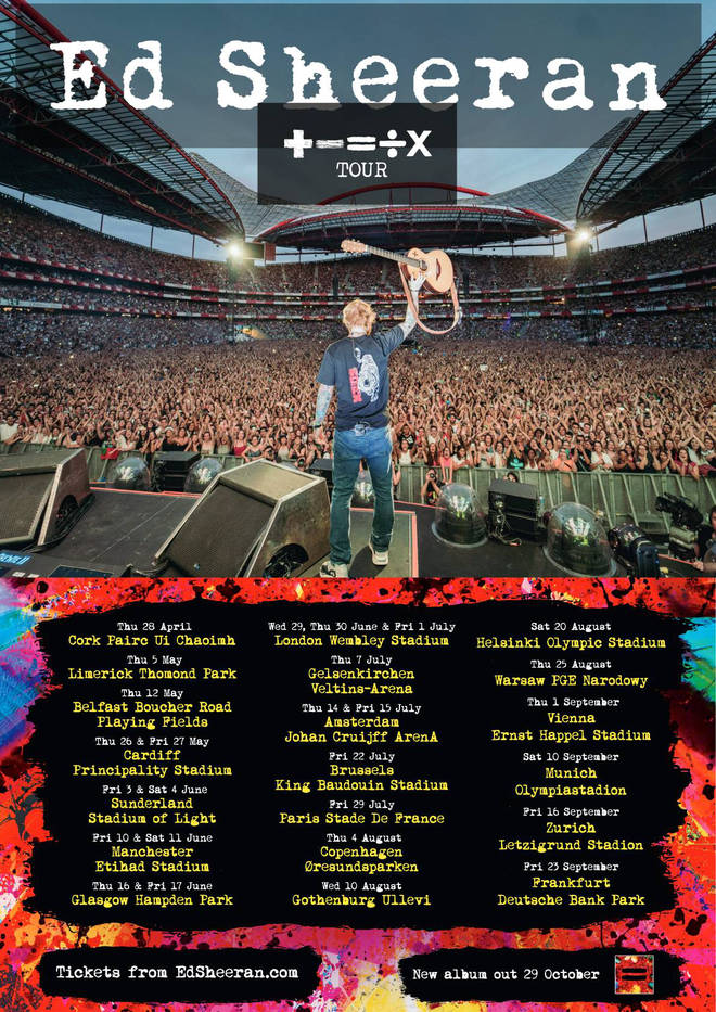 The poster for Ed Sheeran's + – = ÷ x tour in 2022.
