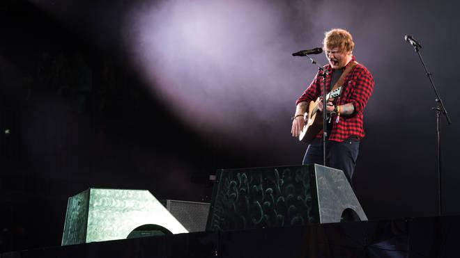 Ed Sheeran headlining Glastonbury Festival's Pyramid Stage in 2017. (Photo by Ian Gavan/Getty Images)