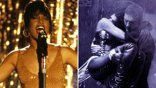 Whitney Houston in 1992 film The Bodyguard, and the poster for the film featuring Houston and Kevin Costner.