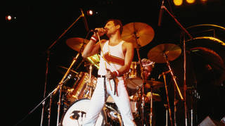 Freddie Mercury performs with Queen