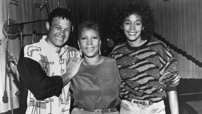 Aretha Franklin and Whitney Houston pose for a portrait during the recording of the song 'It Isn't, It Wasn't, It Ain't Gonna Be Me in May 1989 in Detroit, Michigan.