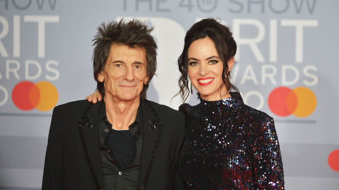 Ronnie Wood and Sally Humphreys attend 2020's BRIT Awards in London, England. (Photo by Jim Dyson/Redferns)