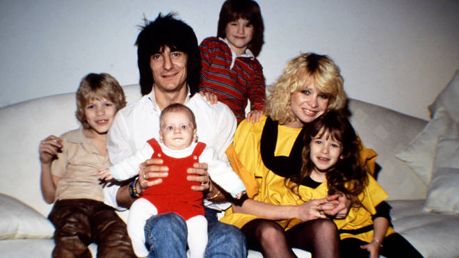 Ronnie Wood and ex-wife Jo Wood are photographed with their children in Chelsea, London in 1983. (Photo by Dave Hogan/Hulton Archive/Getty Images)