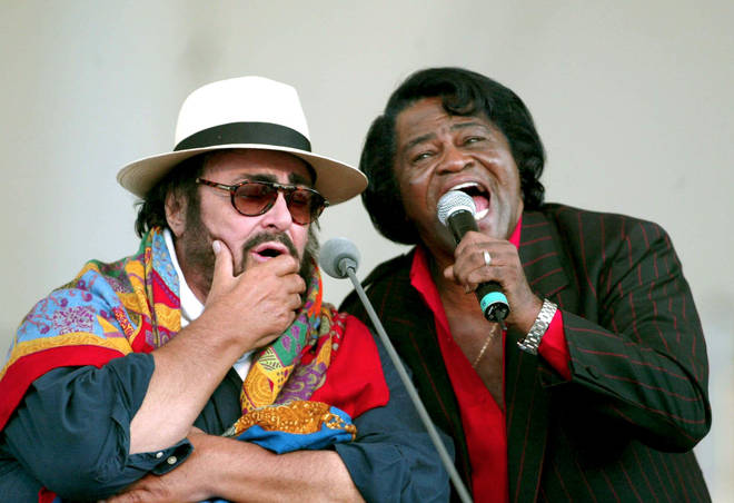 James Brown performed with Pavarotti at his concert in 2002